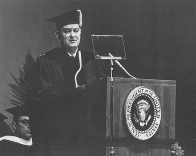 President of the United States Lyndon B. Johnson, addressing Centennial Convocation