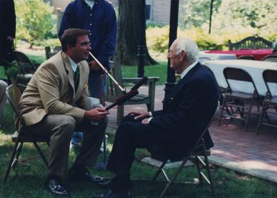 Celebration: July 11, 2002; Actual Birthday: July 14, 1903. From left to right: Bill Bryant, WKYT News Anchor speaking with Dr. Thomas D. Clark