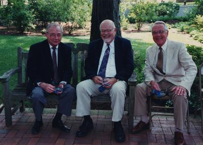 Celebration: July 11, 2002; Actual Birthday: July 16, 2002. Left to right: Leonard Curry, Mac Coffman, and Frank Mathias