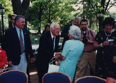 Celebration: July 11, 2002; Actual Birthday: July 14, 1903. Left to right: Carl Nathe, Thomas D. Clark, unidentified woman, and Robert Milward in the background