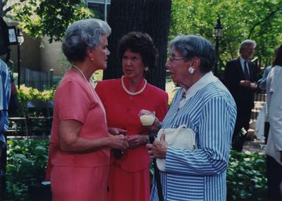 Celebration: July 11, 2002; Actual Birthday: July 16, 2002. Left to right: Eleanor Milward, unidentified woman, Dr. Mary W. Hargreaves, and Richard Belding, State Archivist in the far right back corner