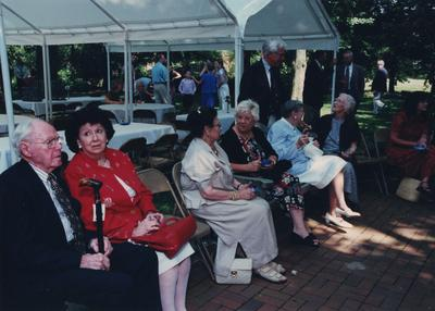 Celebration: July 11, 2002; Actual Birthday: July 16, 2002. Guests seated; next to last person, in blue stripes is Dr. Mary W. Hargreaves
