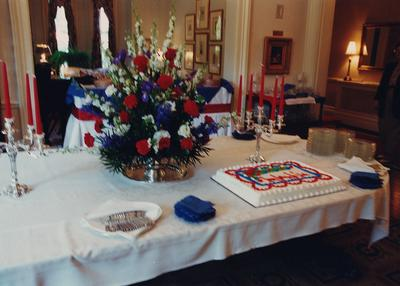 Celebration: July 11, 2002; Actual Birthday: July 16, 2002. Reception table in Maxwell Place