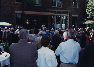 Celebration: July 11, 2002; Actual Birthday: July 16, 2002. Dr. and Mrs. Todd addressing crowd on front steps of Maxwell Place