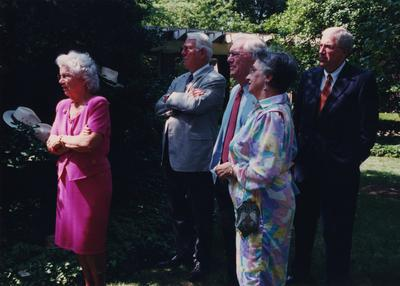 Celebration: July 11, 2002; Actual Birthday: July 16, 2002. Glenna Graves in pink dress and in gray coat (Jake Graves, III), Dr. and Mrs. Frank Dickey, President Emeritus of UK, and Charles Shearer, President of Transylvania