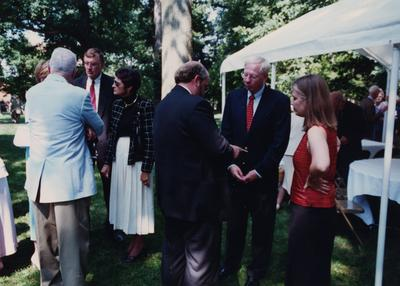 Celebration: July 11, 2002; Actual Birthday: July 16, 2002. Couple on the left is Ray and Mrs. Hornback, former Vice President of UK; in the center with back to the camera is Stephen Wrinn, Director University Press of Kentucky talking with John Cleaver, author