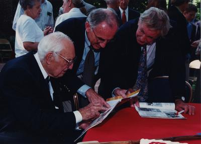 Celebration: July 11, 2002; Actual Birthday: July 14, 1903. Left to right: Thomas D. Clark, state historian laureate, Provost from Vanderbilt, and an unidentified man