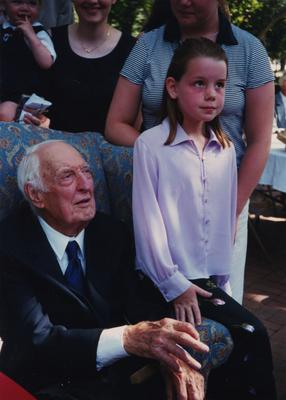 Celebration: July 11, 2002; Actual Birthday: July 14, 1903. Dr. Thomas D. Clark with great granddaughter