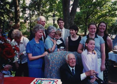 Celebration: July 11, 2002; Actual Birthday: July 14, 1903. Dr. Thomas D. Clark seated, daughter , Elizabeth with her hand on the chair and behind her is Dr. Clark's son, Bennett Clark