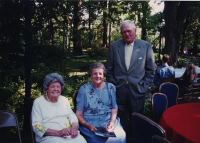 Celebration: July 11, 2002; Actual Birthday: July 16, 2002. Left to right: Rosemary Brooks, member of the Library Associates, Carolyn Sledd, and Herb Sledd