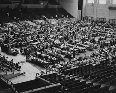 University of Kentucky class registration in Memorial Coliseum