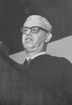 Founders Day Convocation for President Kennedy and President Johnson; pictured is Arthur Goldberg, Secretary of Labor