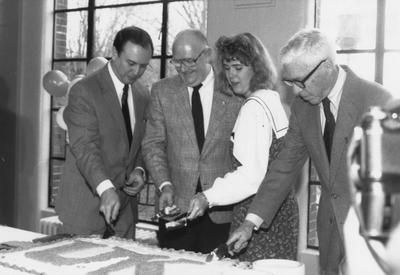 From left to right: President Charles Wethington, Robert Hemenway, Paige Estes, and John Gaines