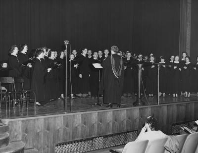 University Chorus performs at dedication of Fine Arts Building; under the direction of Miss Mildred Lewis. Photographer: John B. Kuiper. Shown second from the right in the first row is Sarah Utterback and second from the right in the back row is Martha Shindelbouer