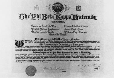 Phi Beta Kappa honorary fraternity charter