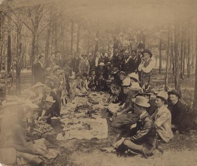 Picnic at High Bridge, future Governor Augustus O. Stanley is on the left holding a chicken leg