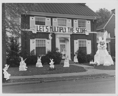 Let's Multiply the Score; Alpha Xi house decorations. Photographer: Thomasson-Smith