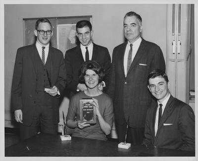 Runners-up, UK Debate; From left, seated: Michelle Cleveland, Richard Ford; standing: David McCracken, Kevin Hennessey, and Dr. Gifford Blyton