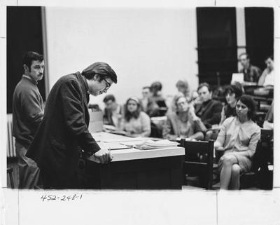 Graduate Student Association meeting. This image appears first on page 248 in the 1969 Kentuckian