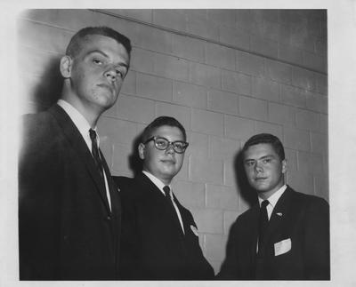 Three unidentified male Junior Science Club Officers. Photographer: Courier-Journal and Louisville Times. Received October 30, 1961 from Public Relations