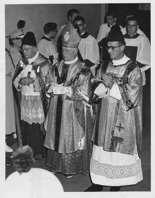 Monsignor Thomas Ennis of Lexington, Archbishop Karl I. Alter, and Reverend Edward T. Hickey at Marian Year Pilgrimage