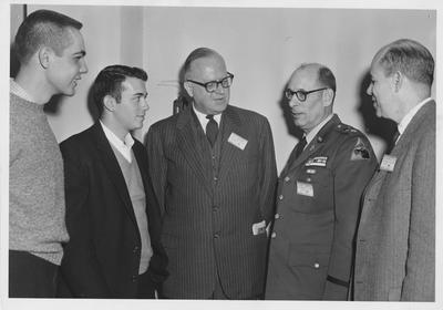 Religion in Life Week; From left to right: unidentified man, unidentified man, Dr. Young, Chaplain Lampson,  unidentified man; Photographer: Lexington Herald - Leader