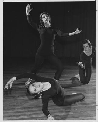Tau Sigma members; three women in a dance group