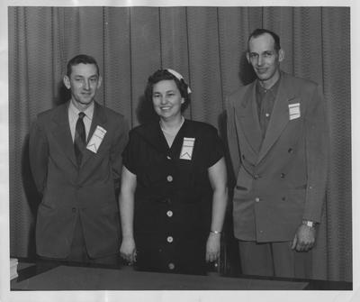 Utopia Club Conference February 4, 1954; State Officers (1954 - 1955) from left to right: George Wright, vice - president, Stella Wethington, secretary, George Finell Jr., president