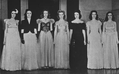 1943 Beauties: Sue Gooding (Class of 1943), Martha Jane Thompson; Joan Theiss, Julia Johnson, Betty Clardy, Anne Austin (Class of 1943), Barbara Rehm (Class of 1943); from the 1943 Kentuckian; This image was also in the 1965 May 6 Lexington Herald - Leader