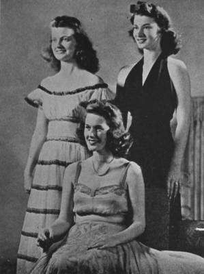 From Beauty Queens folder: Penny Shively (Mrs. Don R. Rose), Minkie Clarke (Mrs. Harry Denham), and Adalin Stern (Mrs. William W. Wichman); This image is in the 1944 Kentuckian on page 144; This image is also in the 1965 May 9 Lexington Herald - Leader; Photographer: Lexington Herald - Leader