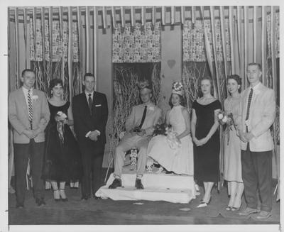 Sweetheart Ball (Valentines Day Dance); King and Queen of the dance with their court at Ashland Center; Photographer: Norman C. Mahan
