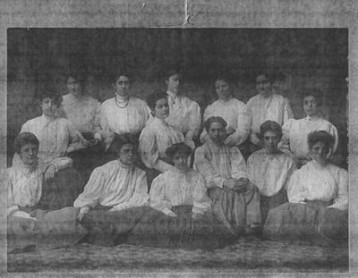 Early picture of the members of Chi Epsilon Chi; Row 1 (from left to right): Aubyn Chinn, Mary Rodes, and Viola Lewis; Row 2 (left to right): Lucy Hutchcraft and Mary Scrugham; Row 3 (left to right): Katherine Hopson, Martha Blessing, Ella Buckner, Louise Rodes, Anna Crenshaw, Sunshine Sweeney, Margaret Webster; This photo appeared in the 1906 Kentuckian pn page 194, picture 1