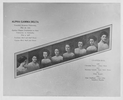 Early picture of the members of Alpha Gamma Delta (Photo states that Alpha Gamma Delta was founded Syracuse University, May 30, 1904, Epsilon Chapter established at State University of Kentucky May 4, 1908, official flowers are red and buff roses, official colors are red, buff, and green); Chapter Rolls: 1908 - Christina Pence and Lilliam Shaw, 1909 - Marietta Cassidy and Mary Belle Pence, 1911 - Ethel Bryant, 1912 - Alma Faulkner, Cleo Gillis, and Gretchen Hayden; Lexington Herald  - Leader staff photo