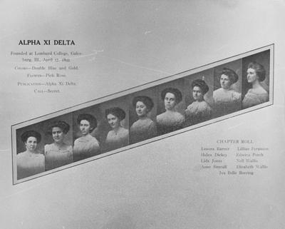 Early picture of the members of Alpha Xi Delta (Photo states that Alpha Xi Delta was founded at Lombard College, Galesburg, Illinois, 1893 April 17, official colors are double blue and gold, official flower is a pink rose; Chapter Roll: Lenora Barner, Helen Dickey, Lida Jones, Anne Simrall, Lillian Ferguson, Edwina Porch, Nell Wallis, Elizabeth Wallis, Iva Belle Boreing; Lexington Herald  - Leader staff photo