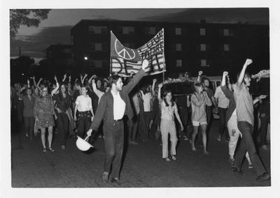 Students protest by marching through Central Campus in reaction to the Kent State shootings