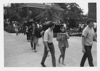 Students protest in reaction to the Kent State shootings