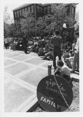 Protest in front of the Patterson Office Tower in reaction to the Kent State shootings