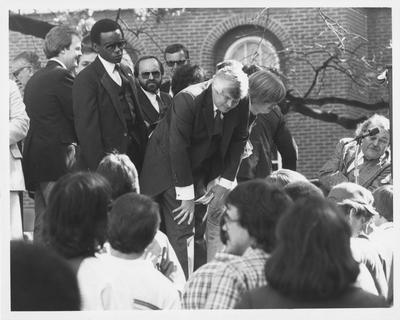 Former governor John Y. Brown speaks to students during a rally for higher education which took place on the lawn of the Administration Building