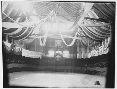 The gym in Barker Hall decorated for the Junior Prom