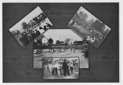 Composite of four photos of the tug of war at Clifton Pond in 1916 and 1917