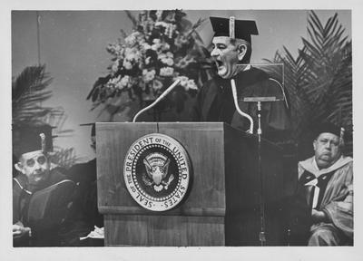 President of the United States Lyndon B. Johnson addressing Centennial Convocation; Lexington Herald - Leader staff photo