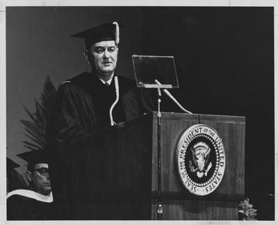 President of the United States Lyndon B. Johnson addressing Centennial Convocation