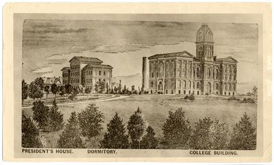 Scene of 1882 buildings on campus when Agriculture and Mechanical College moved from Woodland; First three buildings and smokestack; Left to right: President's house, White Hall Men's Dormitory, Smokestack, Administration/Main Building