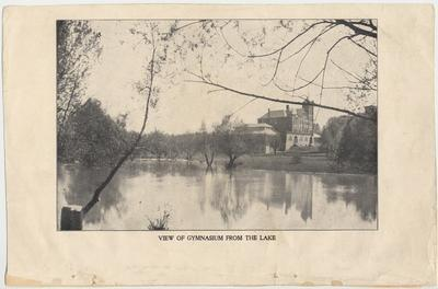 View of gymnasium from the lake