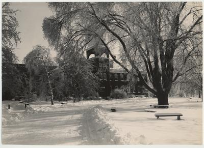 Anderson Hall (Engineering building) on a snowy day; Received 1994, January 14 from Professor David Blythe