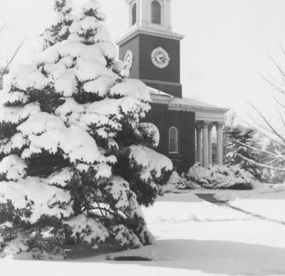 Memorial Hall after a snowfall