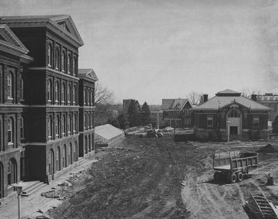 From left to right: White Hall building (razed 1967), Patterson House/Faculty Club, Carnegie Library (razed)