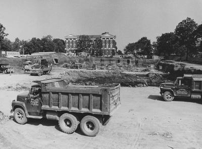 Construction of classroom and office complex with the Administration Building in the background