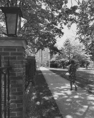A woman walking past the President's house towards the Margaret I. King Library
