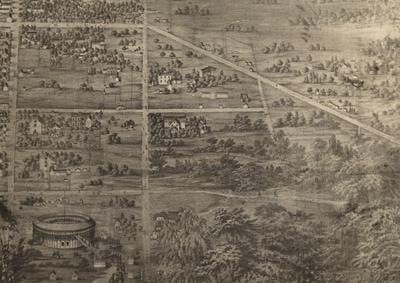 University site as it looked in a 1857 pictorial map of Lexington; Limestone is to the left, Rose Street is near the center, and the Fair Amphitheater is in the foreground; Photographer: Lafayette Studio